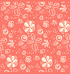 tender peach color doodle floral pattern vector image