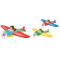 Three kids flying jet plane vector