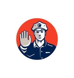 Traffic Policeman Hand Stop Sign Circle Retro vector image