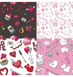 valentine pattern set vector image