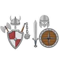 viking armor set - helmets shields and sword axe vector image vector image