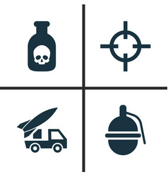 Warfare icons set collection of target ordnance vector