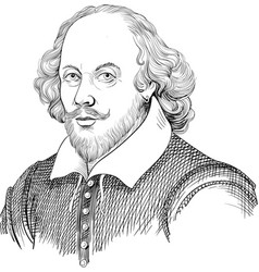 william shakespeare portrait in line art vector image