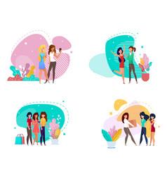 Women in various lifestyles cartoon friendship set vector