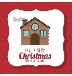 wood house of Merry Christmas design vector image