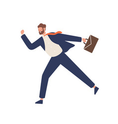 young bearded male in suit running hold suitcase vector image