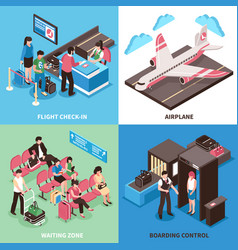 airport departure concept isometric design vector image vector image