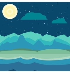 Blue and green night landscape vector image