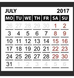 calendar sheet July 2017 vector image vector image