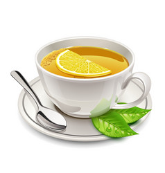 cup of tea with lemon vector image