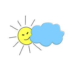 Pattern handmade happy sun peeking from behind vector