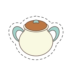 Pottery kitchenware bowl home cut line vector