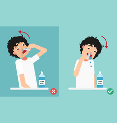 Right and wrong ways of cleaning your nostrils vector