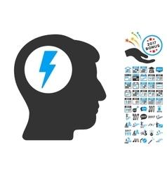 Brain electric shock icon with 2017 year bonus vector