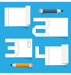 Empty White Paper Sheet with Stickers and Pencils vector image vector image