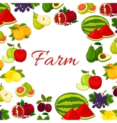 Fruits poster Fresh farm fruit icons in round vector image vector image