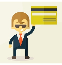 man showing credit card vector image