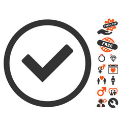 ok icon with lovely bonus vector image vector image