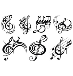 Ornamental music notes vector