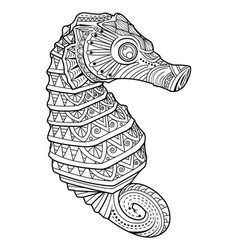 sea horse style for coloring page vector image