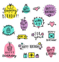 set of birthday lettering vector image vector image