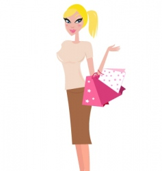 shopping woman with bags vector image