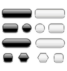 white and black buttons glass 3d icons with vector image