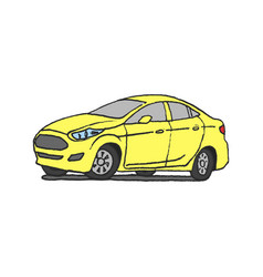 yellow car doodle vector image vector image