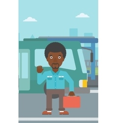 Man travelling by bus vector