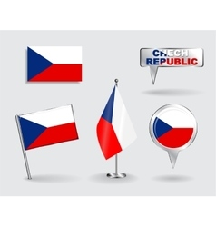 Set of Czech Republic pin icon and map pointer vector image
