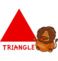 triangle shape with cartoon lion vector image vector image