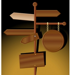 wooden direction signs vector image vector image
