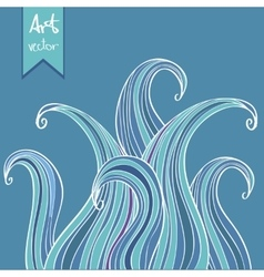 Blue abstract hand-drawn background vector image