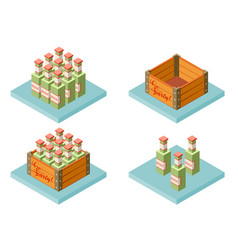 Color set isometric icon with case of beer with vector
