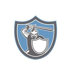 Crusader Knight Brandish Sword Shield Retro vector image