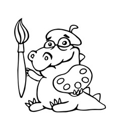 Cute dinosaur artist painter with brush and vector