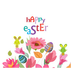 happy easter card with a lettering and cartoon vector image
