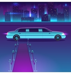 Limousine with a red carpet at night in vector