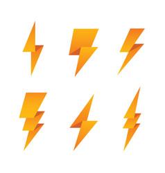 paper lightning bolt icon set vector image