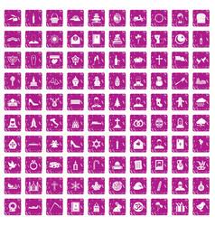 100 church icons set grunge pink vector