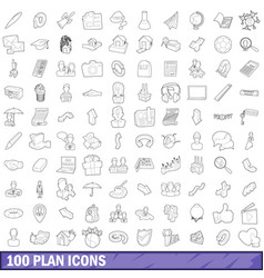 100 plan icons set outline style vector image