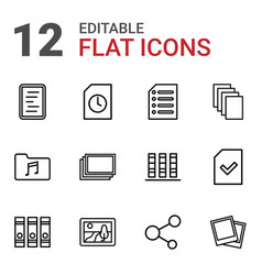 12 file icons vector image