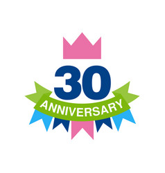 30th anniversary colored logo design happy vector image