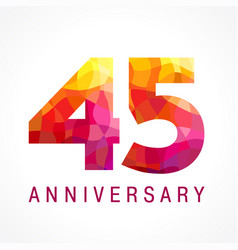 45 anniversary red logo vector image