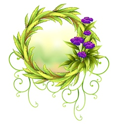 A round green border with violet flowers vector image