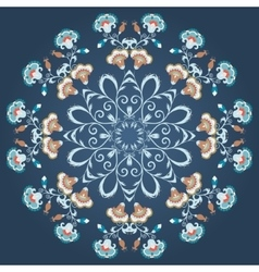 Abstract ornament mandala with styled flowers vector
