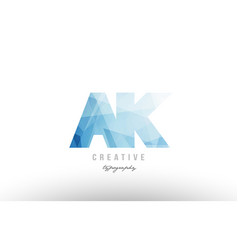 Ak a k blue polygonal alphabet letter logo icon vector