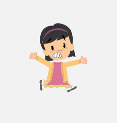Asian girl running terrified vector