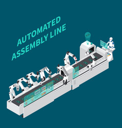 Assembly line isometric background vector