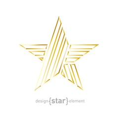 Beautiful Gold star made of thin lines on white vector